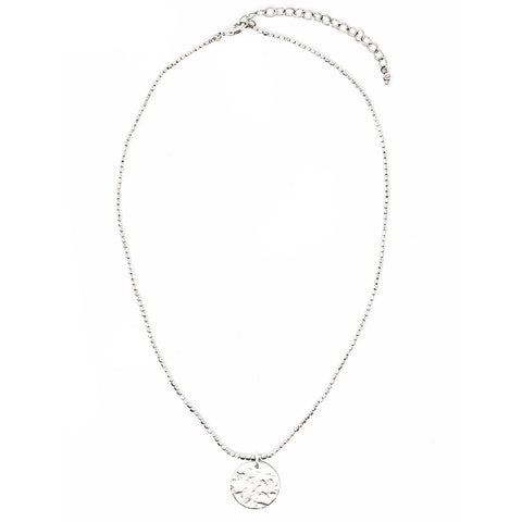 Simple Medallion Necklace Silver