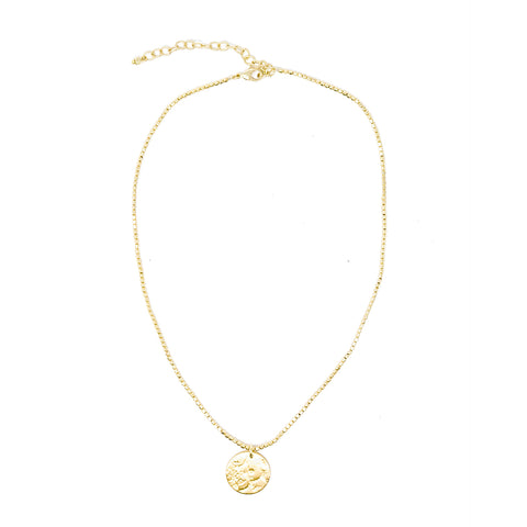 Simple Medallion Necklace Gold