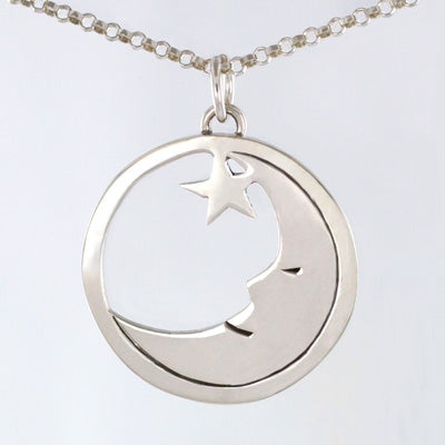 Cutout Lazy Moon and Star Necklace