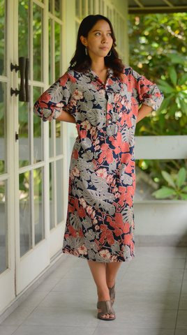 Orchid Coral Navy Classic Shift Dress