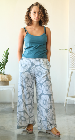 Grey Retro Flowers Wide Leg Pants