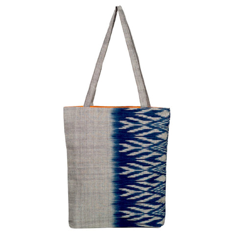 Savannah Ikat Tote Grey Blue