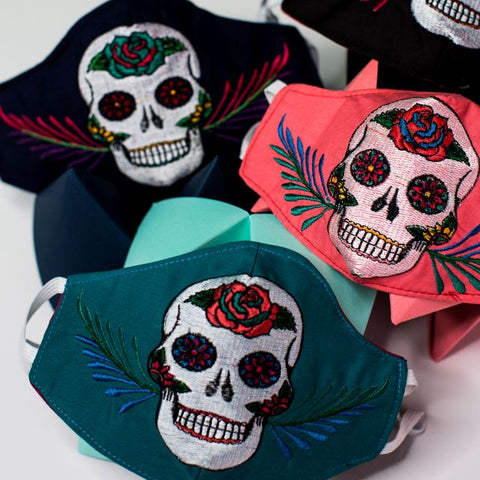 Sugar Skull Embroidered Face Mask