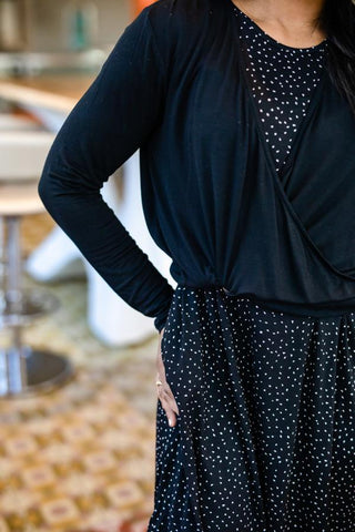 Black Faux Wrap Pullover