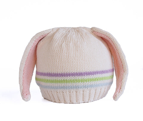 Hat w/ Bunny Ears & Thin Stripes