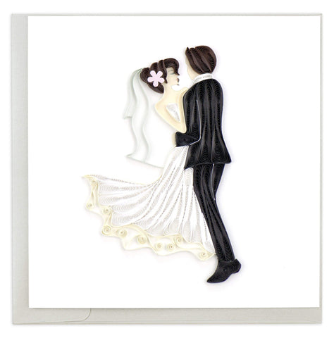 Quilled Dancing Bride & Groom Card