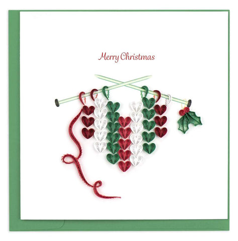 Quilled Knit Heart Christmas Card