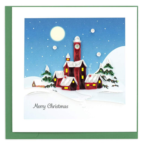 Quilled Santa's Village Christmas Card