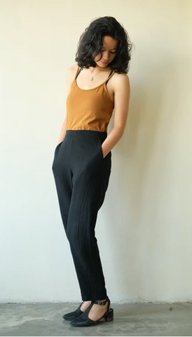 Black Cotton Crinkle Slim Pants