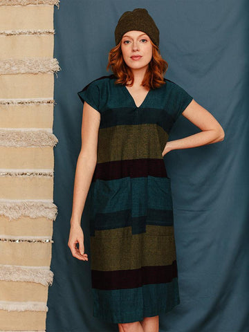 Darjeeling Pocket Dress Sea Stripe