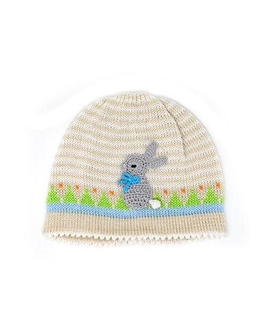 Ecru Easter Hat w/ Grey Bunny