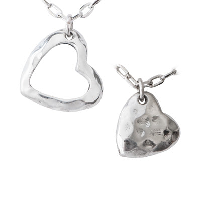 Mom and Daughter Hearts Necklace Set