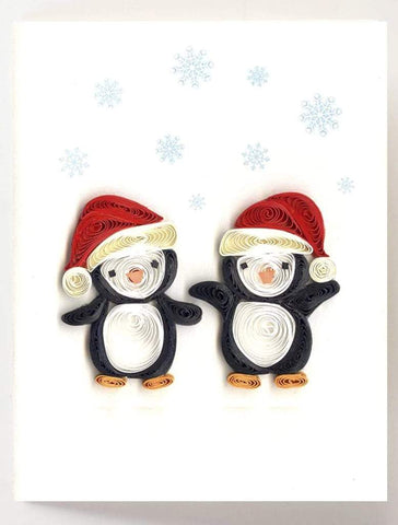 Quilled Christmas Penguins Gift Enclosure