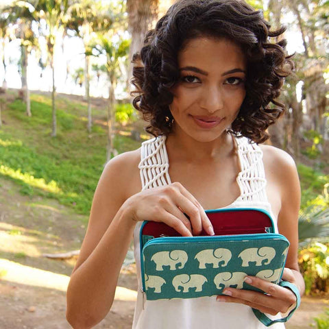 Screen Print Travel Wallet - Elephant Prints