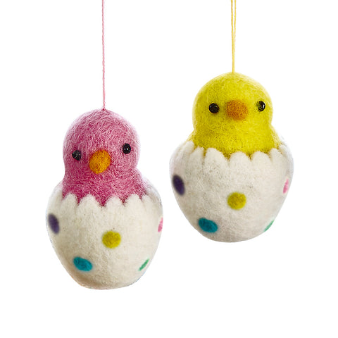 Felted Chick Ornament