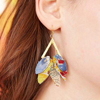 Kantha Leaf Drop Earrings