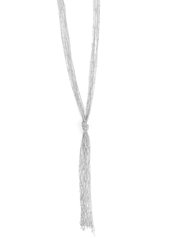 Knotted Fringe Necklace Silver