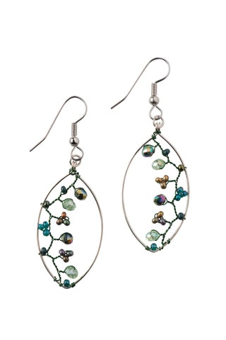 Green Beaded Vine Earrings