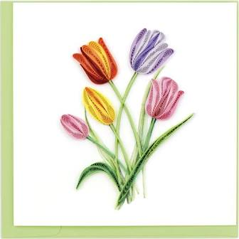 Quilled Colorful Tulips Card