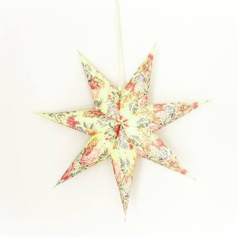 "18"" Floral Recycled Star Lantern"
