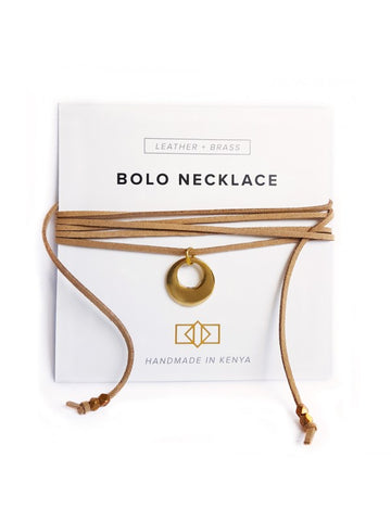 Brass Crescent Bolo Necklace