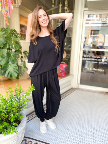 Nearady Top - Black Crepe
