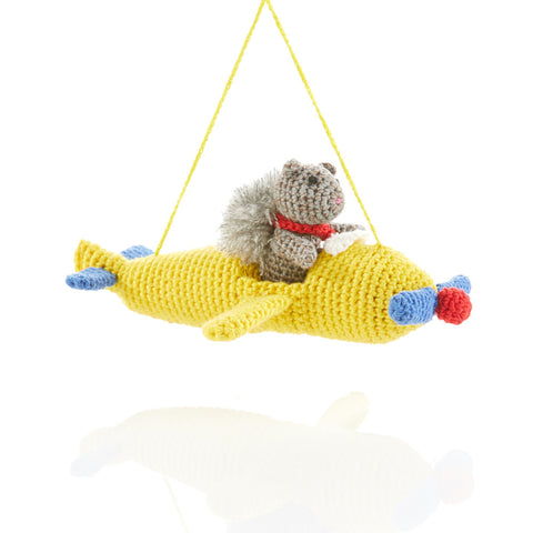 Pilot Squirrel Crocheted Ornament