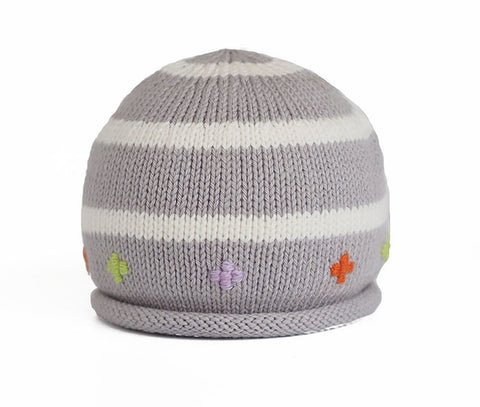 Striped Hat w/ Embroidery Light Gray