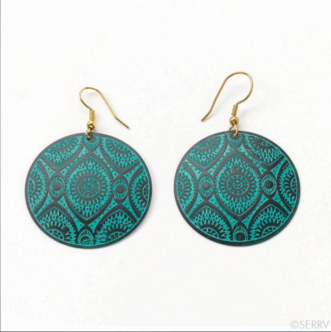 Teal Disc Earrings