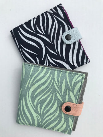Cotton Screen Print Wallet - Leaves Prints