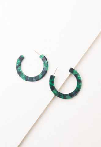 Wicker Forest Resin Hoop Earrings