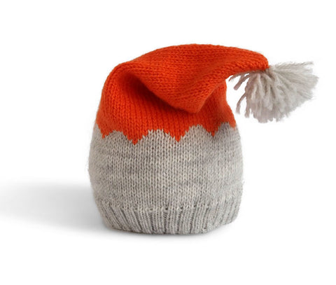 Winter Hat in Grey & Orange