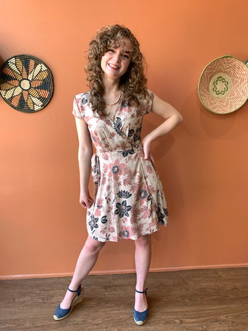 Passion Flower Retro Blush Wrap Dress