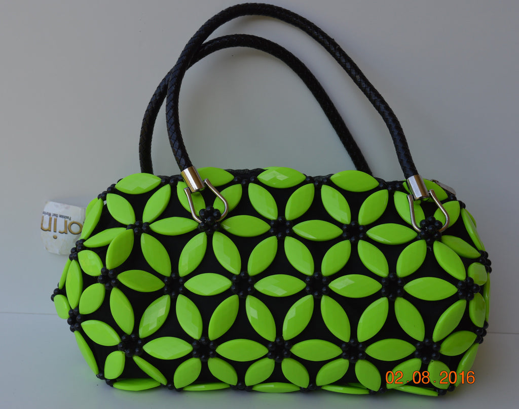 Lemon green bead purse