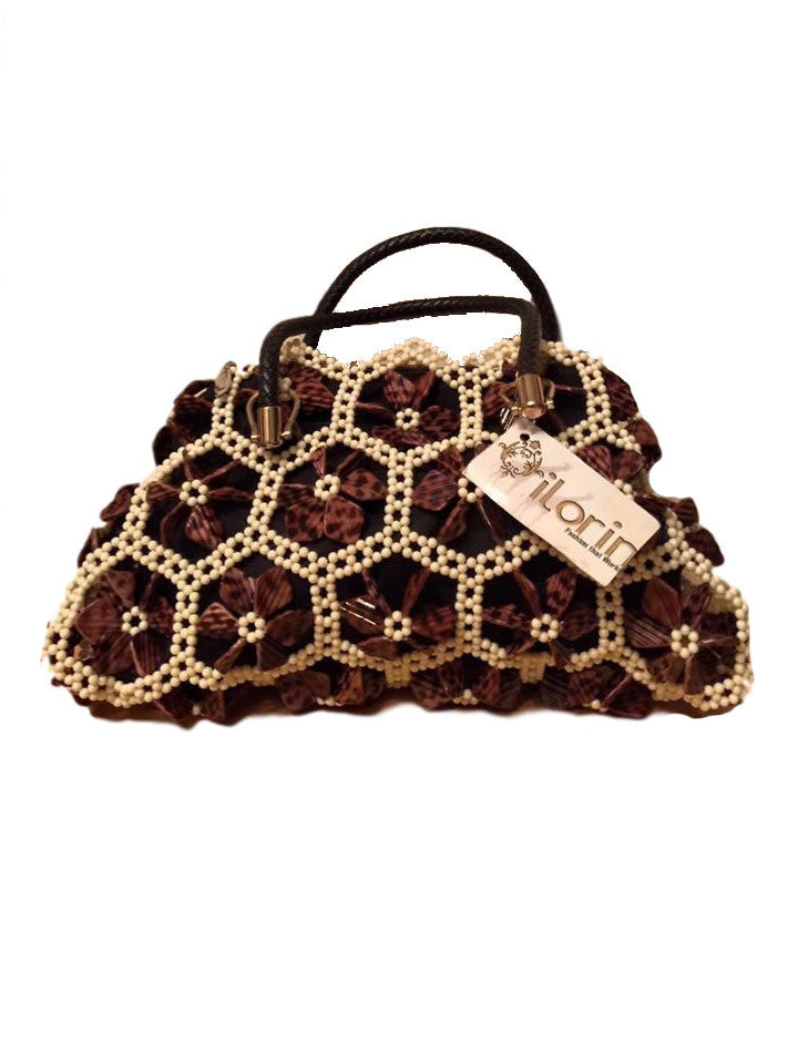 Brown Cream Accent Butterfly Purse