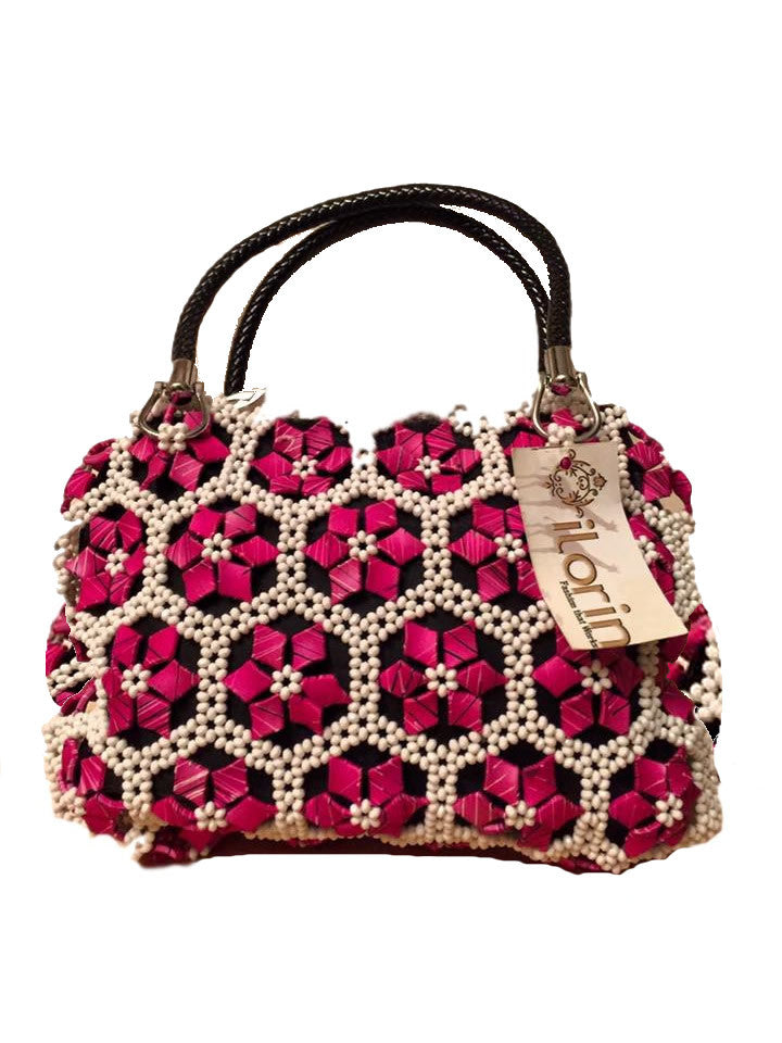 Pink White Accent Flower Purse