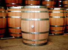 Oak barrels used in wine production
