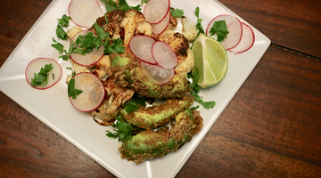 CHIPOTLE LIME CAULIFLOWER STEAKS WITH FRIED AVOCADO (Gluten-Free, Paleo, Keto Consumer Friendly)