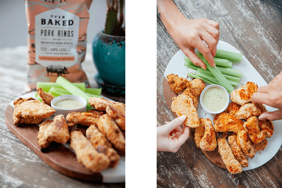 Side to side images of chicken strips breaded with epic provisions pink himalayan baked pork rinds