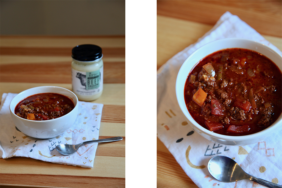 Split image of a bowl of chili displayed on a table next to EPIC Beef Tallow