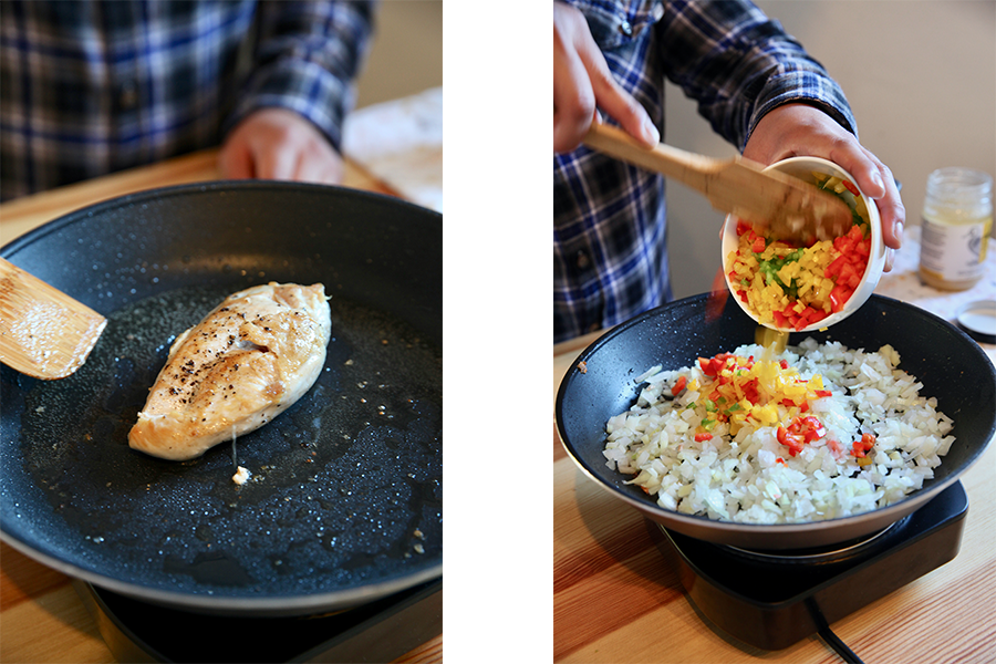 Side by side image of a chicken breast cooking in a skillet and bell peppers be added to riced cauliflower in a skillet.