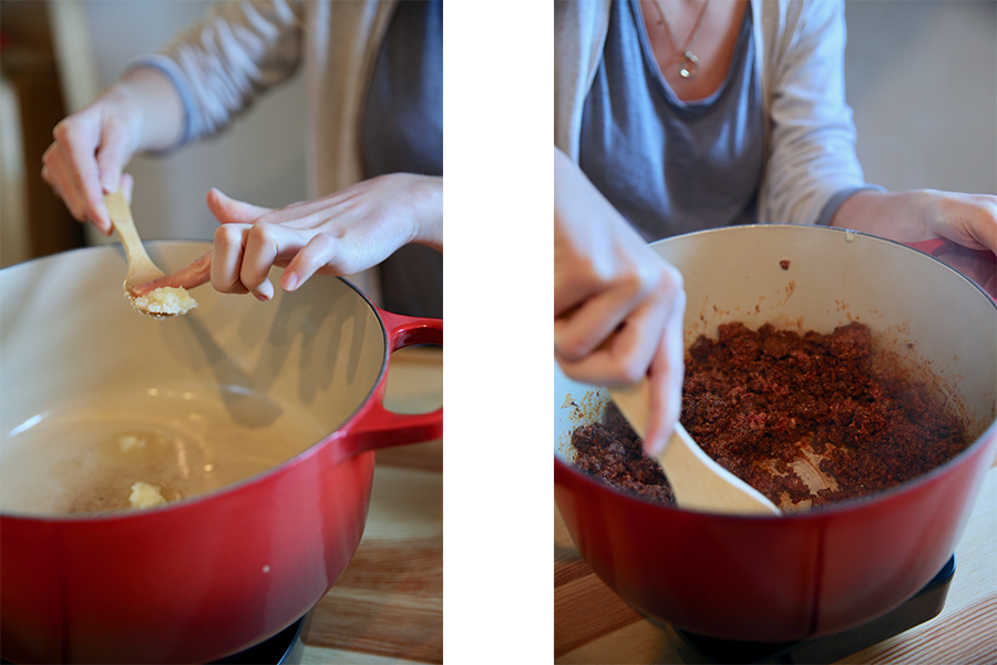 Split image of EPIC Beef Tallow being added to a dutch oven and ground meat being mixed in a dutch oven