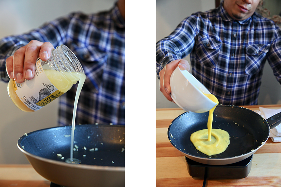 Side by side image of EPIC Duck Fat and eggs being added to saute pan.