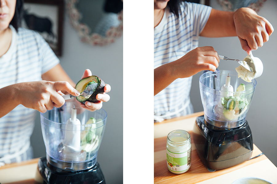 Side by side image of woman adding avocado and primal instincts mayo to a food processor.
