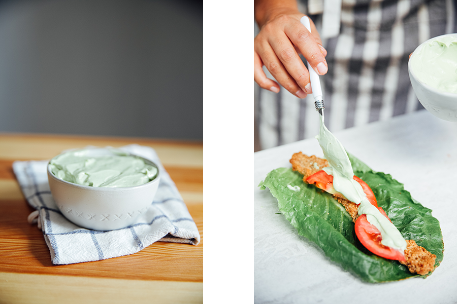 Side by side image of avocado lemon aioli and the aioli being added to the wrap.