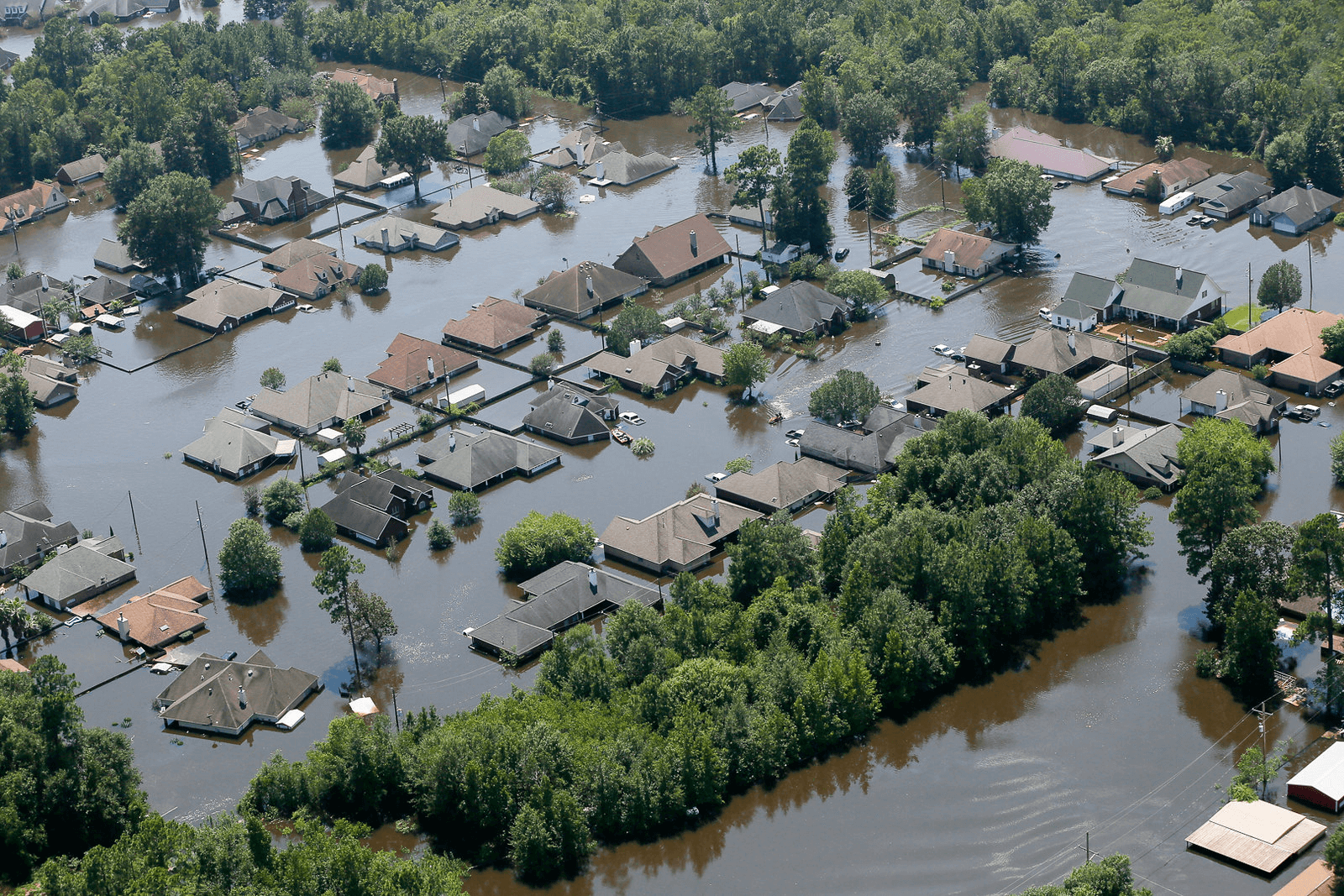 Ariel view of flooded homes due to Hurricane Harvey in Houston, Texas