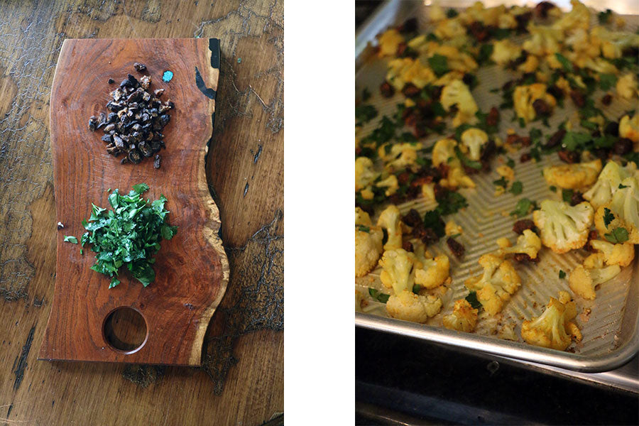 Side by side images. One of chopped parsley and chopped apricots on a rustic wooden cutting board. The other image is the pan of roasted cauliflower sprinkled with the chopped parsley and apricots.