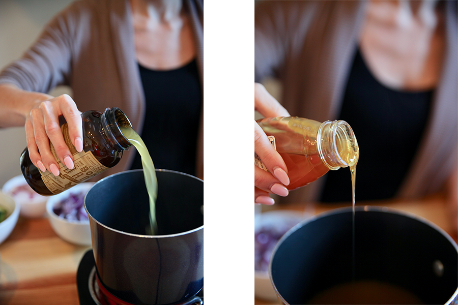 Side by side image of epic chicken broth and honey being added to a medium sauce pan.