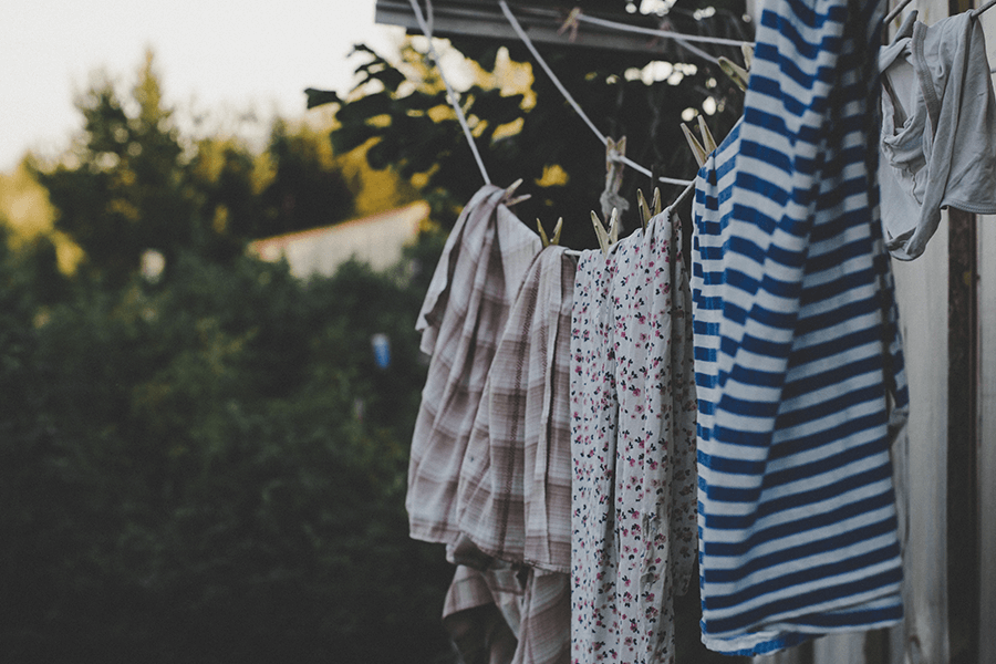 Clothes hang drying outdoors