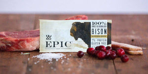 EPIC bison meat bar on a wood surface